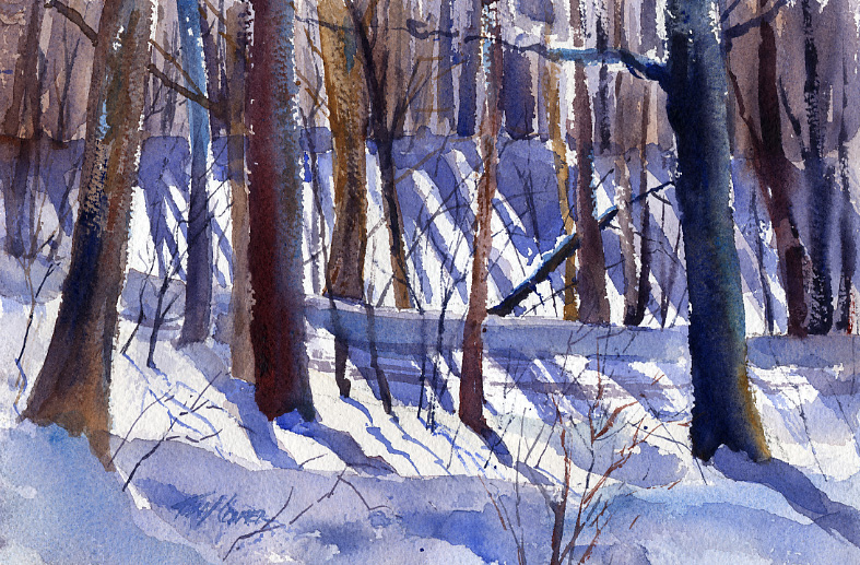 """Shadows On East Road"" – en plein air winter landscape painting in watercolor"