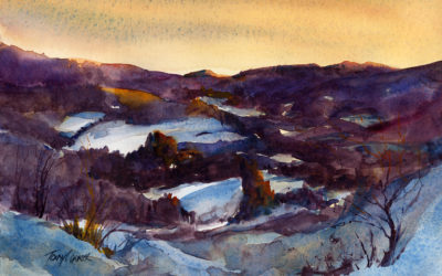 """Snow Hills In January"" – en plein air watercolor landscape painting"