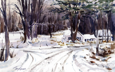 Which Way – en plein air watercolor winter landscape painting