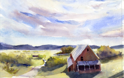 Arrival of the Greens – watercolor landscape painting of early spring