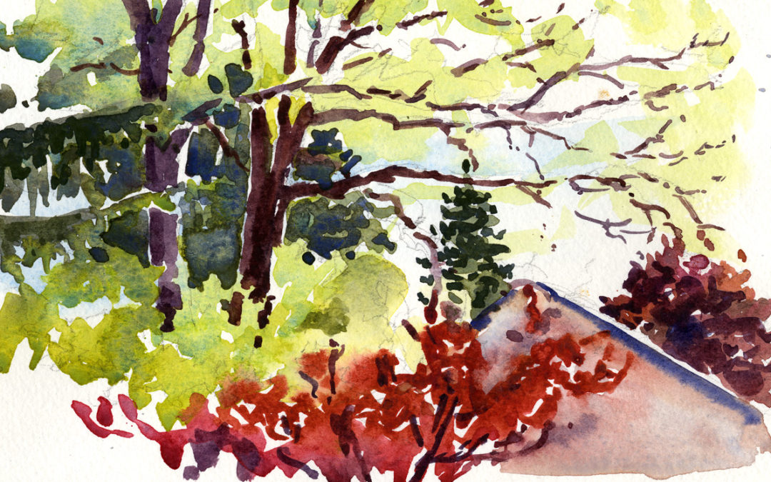 Spring Greens and Reds – en plein air watercolor painting
