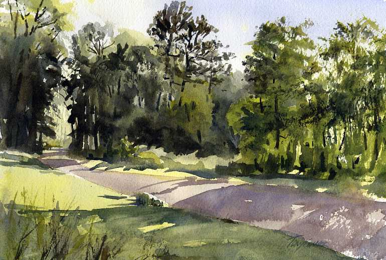 Under Mountain Road – en plein air watercolor summer landscape painting