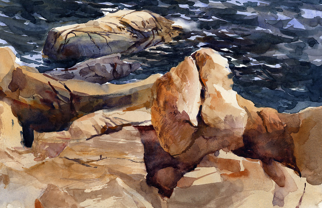Portrait of a Rock – en plein air watercolor seascape painting with surf and rocks