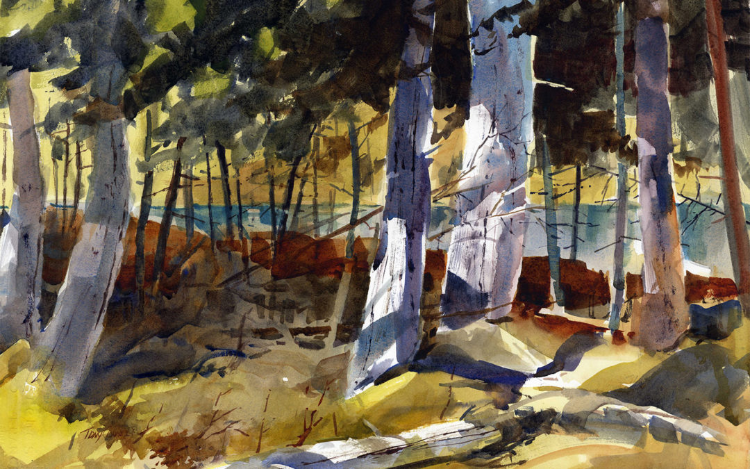 Trees At Black Pond – en plein air watercolor landscape painting of trees