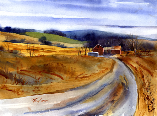 """End Of Season"" - watercolor landscape painting by Tony Conner"