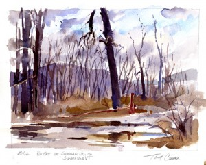 Feb 1, 2012 - Near Sunderland VT - watercolor plein air sketch by Tony Conner