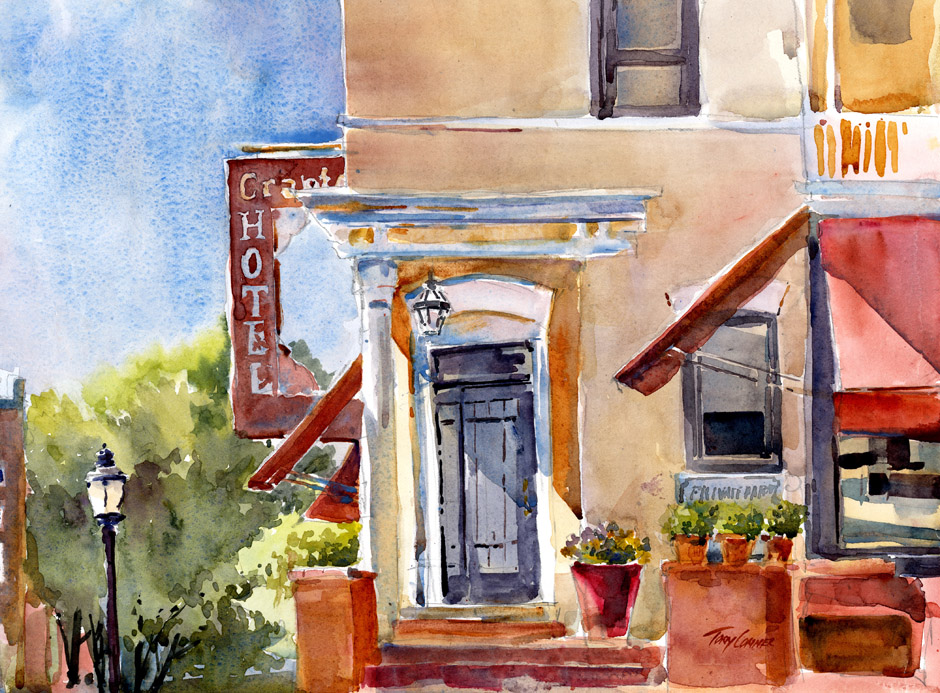 Doorway Light - watercolor plein air painting by Tony Conner