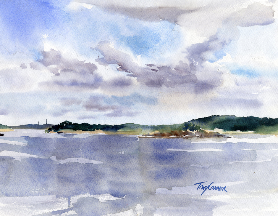 Ocean Lawn South - watercolor plein air seascape by Tony Conner