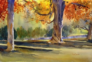 """Under The Canopy"" - watercolor plein air painting by Tony Conner"