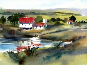 WhiteFarm and Reflections - watercolor landscape painting by Tony Conner
