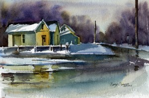 """""""Scene From February"""" - watercolor landscape painting by Tony Conner"""