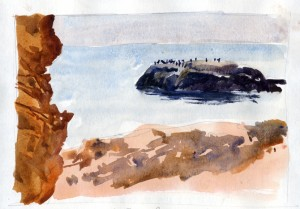 Tida lRock With Cormorants - BassRocks, Gloucester MA - watercolor plein air sketch by Tony Conner
