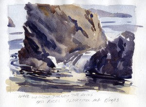 Wave Washing Through The Rocks, Bass Rocks - watercolor plein air sketch by Tony Conner