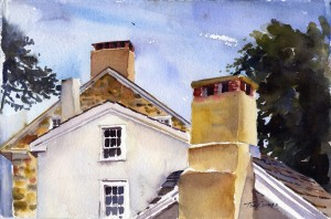 Chimneys & Eaves - watercolor plein air painting by Tony Conner