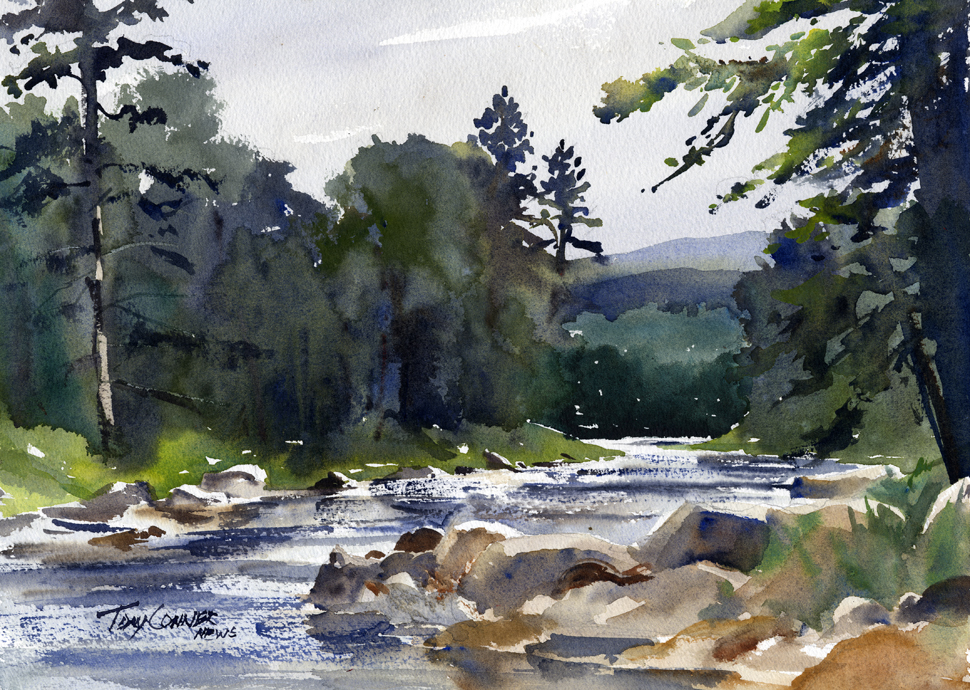 West River Near South Londonderry - watercolor plein air landscape by Tony Conner