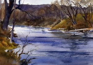 """Walloomsac October Morning"" - watercolor plein air landscape painting by Tony Conner"