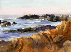 """Bass Rocks, Morning Light"" - watercolor plein air seascape painting by Tony Conner"