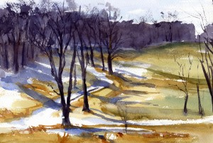 Mile Around Woods Trail - watercolor plein air landscape painting by Tony Conner