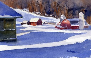 Farm Beyond the Grange - watercolor plein air painting by Tony Conner