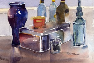 """Studio Objects"" - watercolor still life painting by Tony Conner"