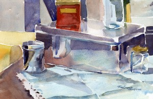 Studio Objects With Turquoise Cloth - watercolor still life painting by Tony Conner