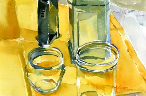 Two Bottles Two Jars - watercolor still life painting by Tony Conner