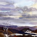 """Changing Sky, Pownal Valley"" - original watercolor plein air watercolor painting by Tony Conner"