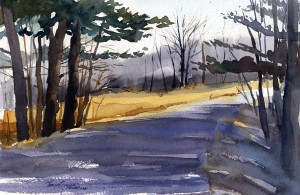 """Holy Smoke Road"" - original plein air watercolor painting by Tony Conner"