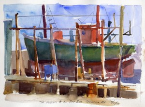 The Phyllis A In Drydock - watercolor plein air sketch by Tony Conner