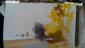 watercolor landscape painting - the look of autumn foliage