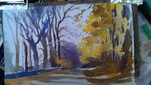 watercolor landscape painting - painting bare trees simply
