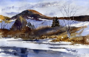 """Preview"" - watercolor plein air landscape painting by Vermont artist Tony Conner"