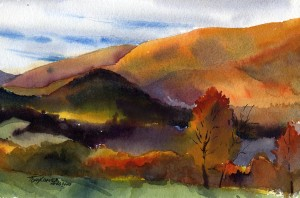 Valley Of Color - watercolor plein air landscape painting by Tony Conner