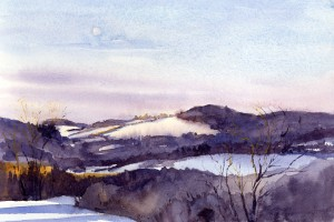 Moonfall - Vermont winter plein air landscape painting by Tony Conner