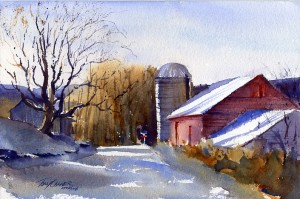 """Nine Fifteen"" - watercolor plein air landscape painting of Vermont by Tony Conner"
