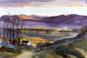 New YearsDay watercolor plein air sketch by Tony Conner