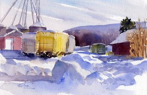 Color In Winter - watercolor plein air landscape painting by Tony Conner