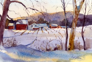 Golden Blue - watercolor Vermont landscape plein air painting by Tony Conner