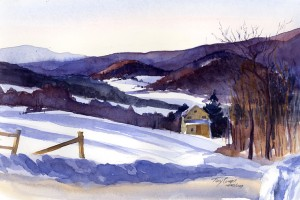 On A Morning - plein air watercolor painting by Tony Conner