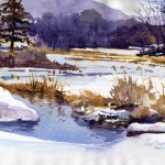 Winter Pond - watercolor plein air landscpe painting by Tony Conner