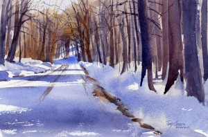 Meyers Road - watercolor landscape painting by Vermont artist Tony Conner