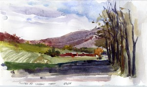 Coulter Road Looking North - watercolor plein air sketch by Tony Conner