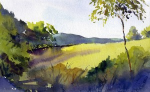 MorningLight Carpenter Hill Road - plein air watercolor landscape painting by Tony Conner