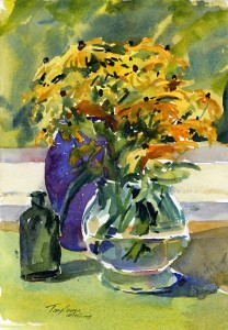 Vase Of Black Eyed Susans - watercolor still life floral painting by Tony Conner