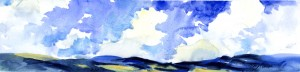 Clouds & Sun II - original watercolor landscape painting by Tony Conner