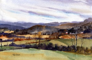 Partial Clearing - en plein air watercolor landscape painting by Tony Conner