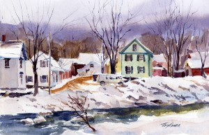 Factory Street Back End - watercolor en plein air landscape painting by Tony Conner