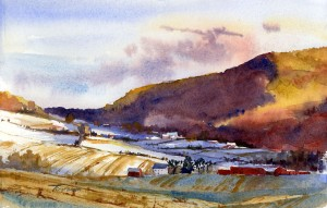In The Shadow Of The Hill - en plein air watercolor landscape painting by Tony Conner