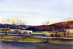 Mettowee Morning - en plein air watercolor landscape by Tony Conner