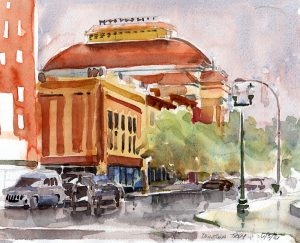 Troy Music Hall and DowntownTroy NY - watercolor en plein air urban sketch by Tony Conner